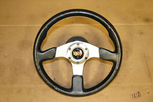 Jdm Aftermarket Momo Race Steering Wheel Black Leather 330mm Diameter 3 Spokes