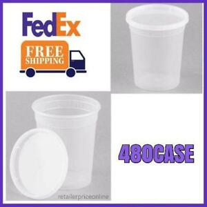 480 Case Plastic Deli Container And Lid Grocery Store Restaurant Take out