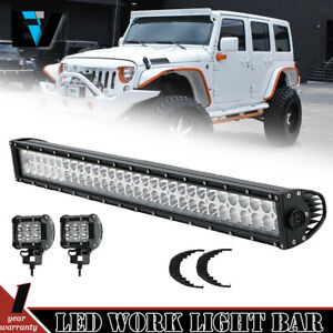 For 95 04 Toyota Tacoma 42 inch Curved Led Light Bar Upper Roof W 4inch Pods