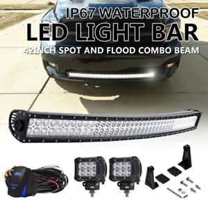 Dual Row 42 inch Curved Led Light Bar Fit For Dodge Ram 1500 2500 3500 Sport