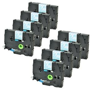 8pk Tze m33 Tzm33 Label Tape Blue On Matte Clear For Brother P touch 1 2 26ft