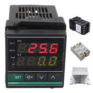 Digital Pid Thermostat Temperature Controller Ssr 25da Thermocouple Heat Sink