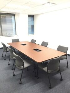 Cherry Laminated Conference Table 48 X 120 With Internet And Power