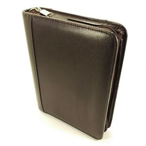Franklin Covey Top Grain Dark Burgundy Leather Classic Planner Zipper Binder