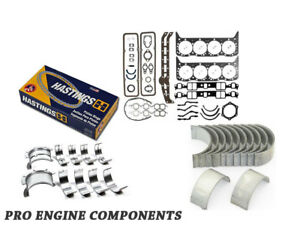 New Small Block Chevy 327 Small Journal Re Ring Kit Rod Mains Rings Gasket Set