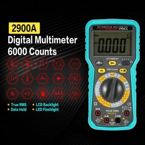 2900a Digital Automotive Multimeter 6000 Count Ac dc Volt Amp Ohm Diode Tester Y
