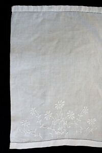 Vintage White Hand Towel Cloth With White Embroidered Flowers