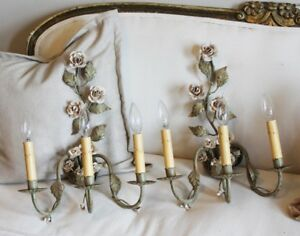 Antique Pair Three Arm Italian Tole Rose Electric Wall Sconces
