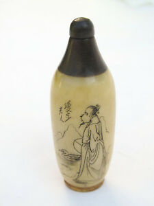 Chinese Handmade Bovine Bone Horn Snuff Bottle With Spoon
