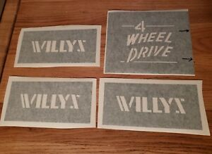 Correct Willys Stencils Set Of 4 Cj2a Cj3a Includes Tailgate 4 Wheel Drive