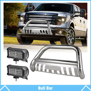 3 Bull Bar Push Bumper Grille Guard 7 Work Light For Ford F150 Expedition