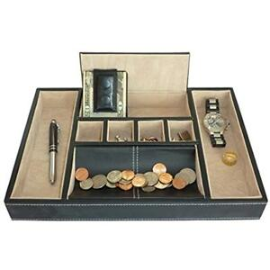 Black Home Kitchen Features Leatherette Valet Tray Desk Dresser Drawer Coin By