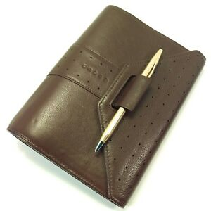 Cross Pen Brown Leather 6 Ring Planner Filofax Personal Size