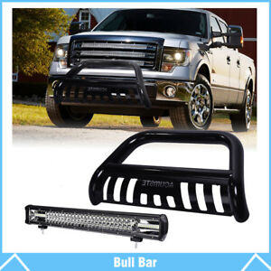 Carbon Steel Bull Bar Push Bumper Grille Guard 22 Work Light For Ford F 150