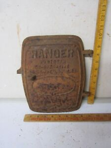 Antique Cast Iron Door Ranger Wood Burning Stove Steampunk Rusty Decor