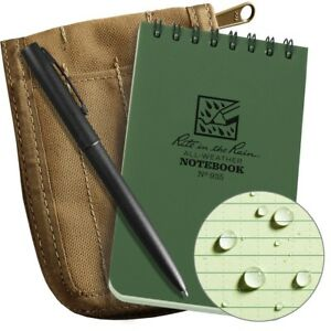 Rite In The Rain Weatherproof 3 X 5 Top spiral Notebook Kit Tan Cordura Fabri