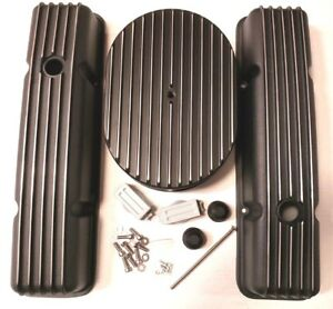 Sb Chevy Black Aluminum Finned Tall Engine Dress Up Kit Fits 59 86 283 350