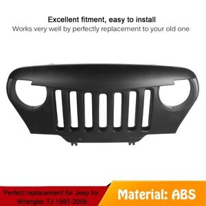 Front Matte Black Mean Angry Bird Grille Grill For Jeep Wrangler Tj 1997