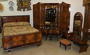 Antique Country French Burl Walnut 6 Piece Bedroom Set Queen Bed Inlaid Silver