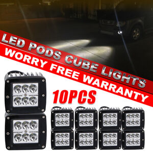 10pcs 4 inch 18w Led Work Light Bar Driving Spot Lights For Offroad Car Ford Gmc