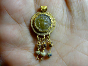 Ancient Medusa Gold Glass Pendant Roman 100 300 Ad Holiday Reduced Prices
