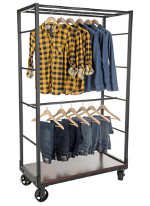 Industrial Rolling Clothing Garment Rack 2 Wood Shelves Removable Hanging Rail