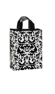 1000 Wholesale Medium Black Damask Frosted Plastic Shopping Bags