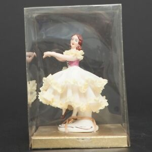Mint Antique Dresden Dancing Ballerina Figurine Porcelain Lace German In Box