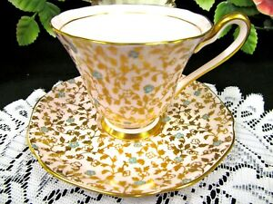 Tuscan Tea Cup And Saucer Pink Chintz Base Blue Floral Pattern Teacup Painted