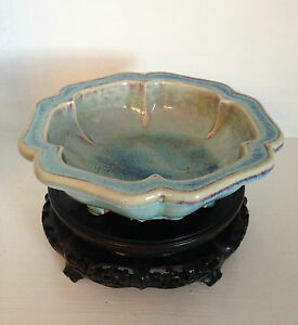Rare Antique Qing Chinese Junyao Jun Narcissus Bowl 18 19th C Antique Stand