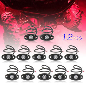 12x Red Led Rock Lamp For Jeep Atv Off road Truck Under Body Trail Rig Bar