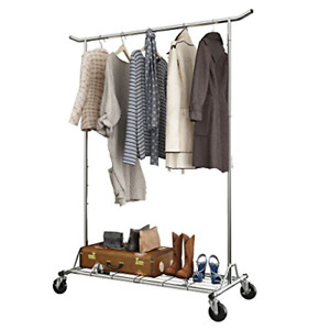Langria Heavy Duty Rolling Commercial Single Rail Clothing Garment Rack With Max