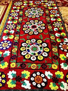 Vintage Uzbek Multi Antique Large Wall Decor Hand Embroidered Tablecloth Suzani