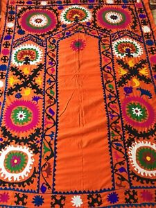 Antique Uzbek Vintage Wall Hanging Original Large Handmade Embroidery Suzani