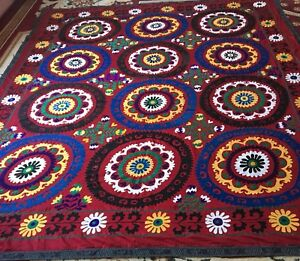 Antique Uzbek Vintage Beautiful Wall Decor Large Handmade Embroidery Suzani