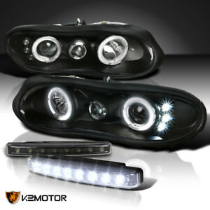 Black 98 02 Chevy Camaro Halo Projector Headlights 8 Led Bumper Fog Lamp