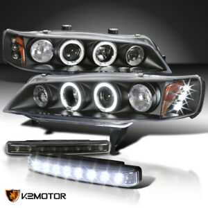 For 1994 1997 Honda Accord Led Halo Projector Head Lights Black 8 Led Bumper