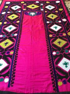 Old Uzbek Vintage Antique Large Beautiful Walldecor Hand Embroidered Silk Suzani
