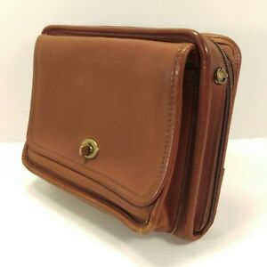Jack Georges Brown Leather 3 Ring Binder Planner Organizer Many Pockets Usa Made