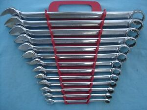 Large Snap On Sae 12 Pt Combo Wrench Set Oex714k 3 8 1 1 4 14 Pc W Rack X Lnt