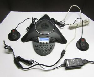 Polycom Soundstation Ip 6000 Poe Voip Conference Phone And 2 Mics 2201 15600 001
