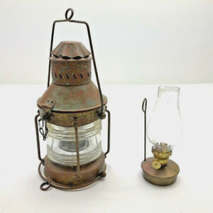 Marine Nautical Anchor Oil Lantern Lamp Copper Brass Antique To Mid Century