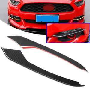 2x Carbon Fiber Front Fog Light Eyebrow Cover Trim For Ford Mustang 2015 2016