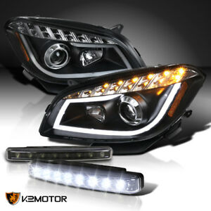 2008 2012 Chevy Malibu Black Led Halo Projector Headlights 8 led Drl Fog Lamps