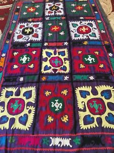 Antique Uzbek Large Old Handmade 100 Original Embroidery Wall Hanging Suzani