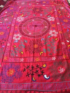 Uzbek Old Antique Vintage Hand Made Wall Hanging Tablecloth Emboidery Suzani