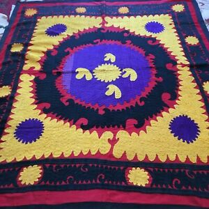 Vintage Original Uzbek Antique Wall Hanging Hand Emroidered Tablecloth Suzani