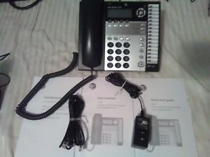 New At t 1040 Small Business System Black Corded Desk Phone 4 Lines Intercom