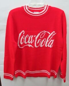 Coca-Cola Valentine's Red Sweater Script Logo Size XL X-Large 100% Acrylic