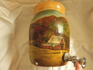 Antique Red Wing Water Cooler Stoneware Hand Painted Folk Art Barn Farm Aafa